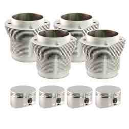 "VW Type 1 85.5mm Nickies Cylinder and Piston Set, 4.432"" head-deck, inc. Custom JE Pistons"
