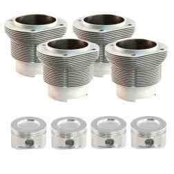 "VW Type 4 Porsche 914 912E 105mm (4.135"") Nickies, 115mm head & 108.50 case registers, inc. JE Piston set"