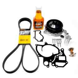 Porsche OEM 987/997 Water Pump Kit inc. Gaskets, Belt, Bolts, Low Temp Thermostat, & Driven CSP