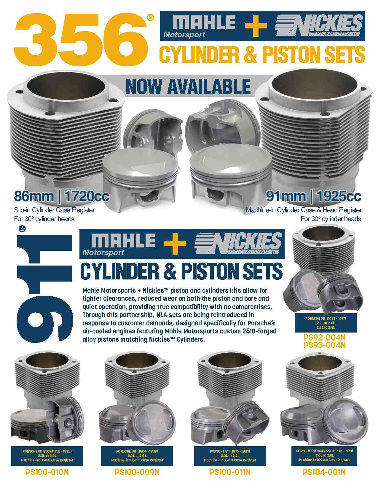 Mahle Motorsports Cylinder and Piston Sets for Aircooled Porsche 356 and 911 Models
