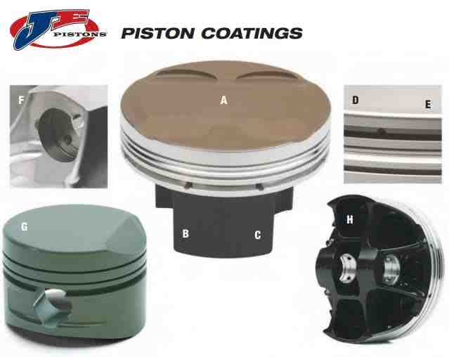 Available piston coatings offered by JE Pistons